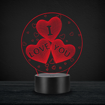 I Love You Heart Proposal Lover Valentine's Day 3D Lamp RGB LED USB Table Mood Night Light Warm White Switch Luminaria Change wedding decor i love you heart 3d optical illusion mood light 7 colors change luminaria lava lamp kids night light novelty gifts