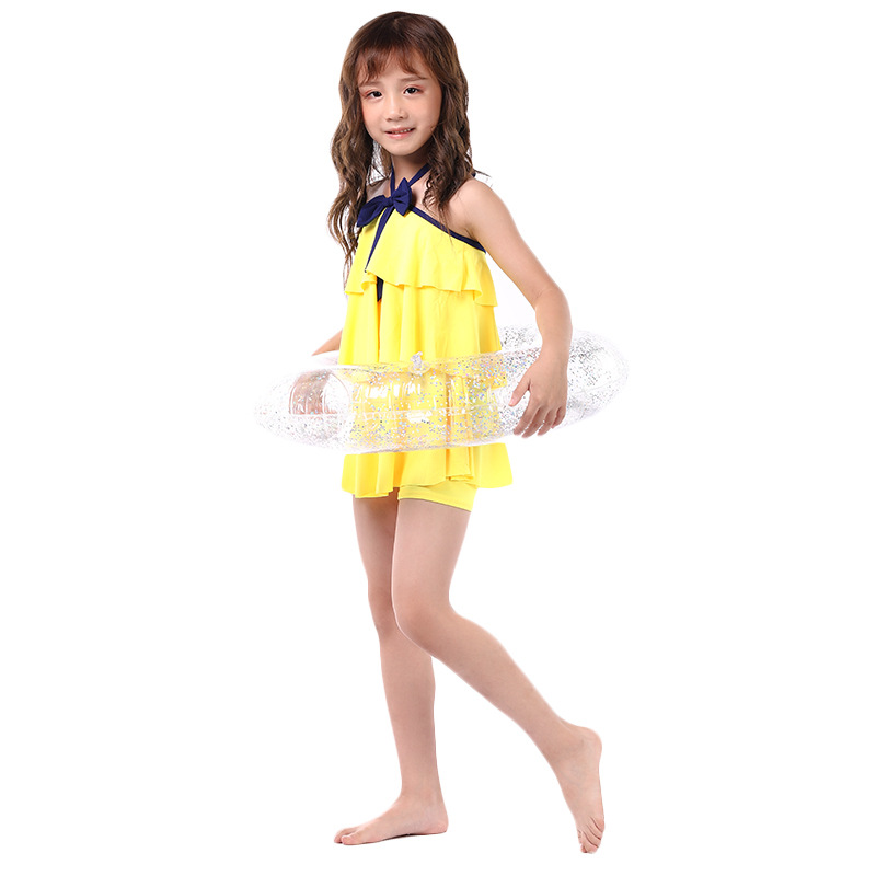 New Style Split Type Sweet Cute Bow GIRL'S Swimsuit Korean-style Fashion Off-Shoulder Halter CHILDREN'S Swimsuit Bathing Suit