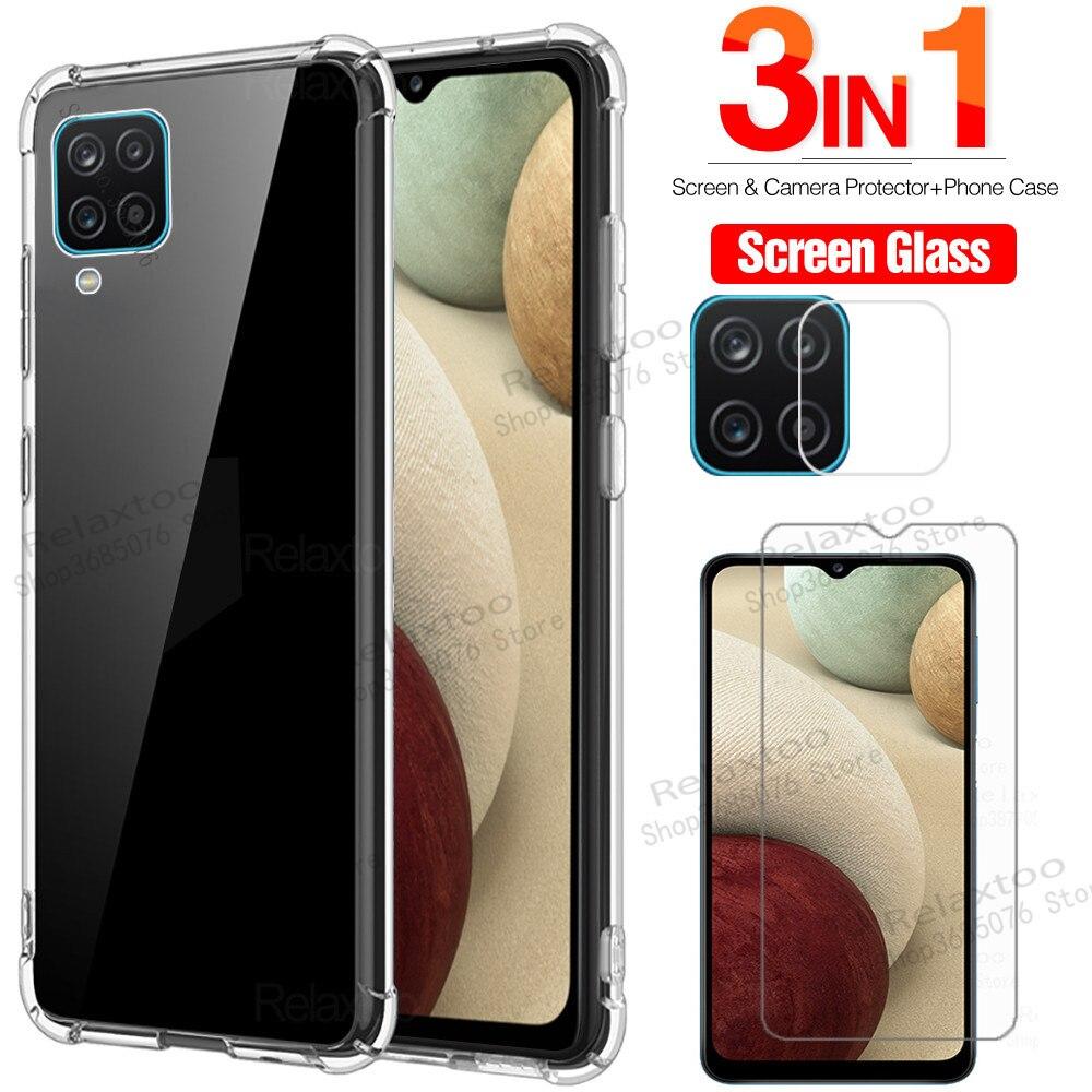 Чехол, Защитное стекло для samsung a12, закаленное стекло для защиты экрана для samsung galaxy a12 a 12 12a 2021, стеклянный чехол galax a12