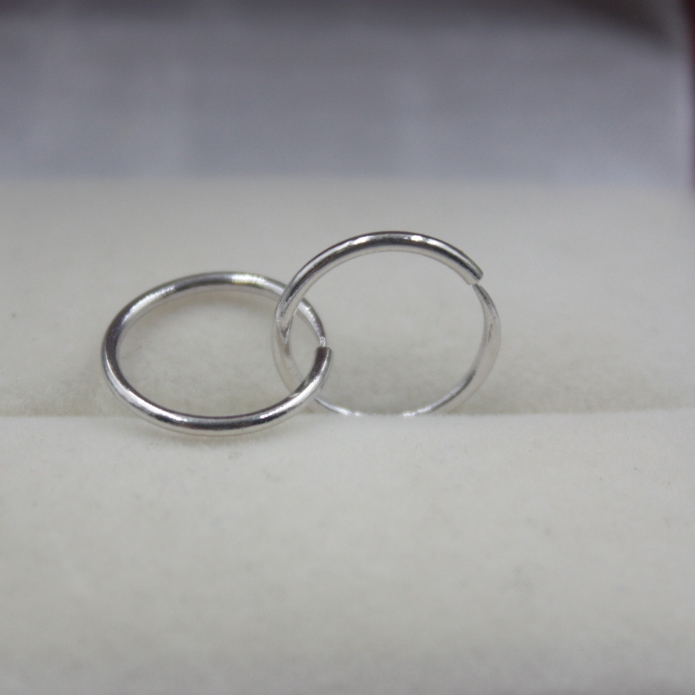 Real Platinum 950 Hoop Earrings Smooth Band Hoop Earrings 12mm by Ali Express.Com