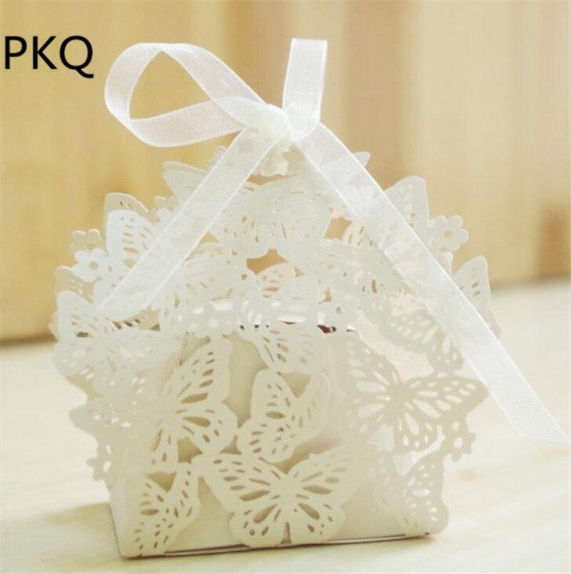 100 шт Бабочка DIY коробки для конфет Романтические свадебные сувениры Подарочная коробка Свадебная вечеринка коробка для печенья с лентой