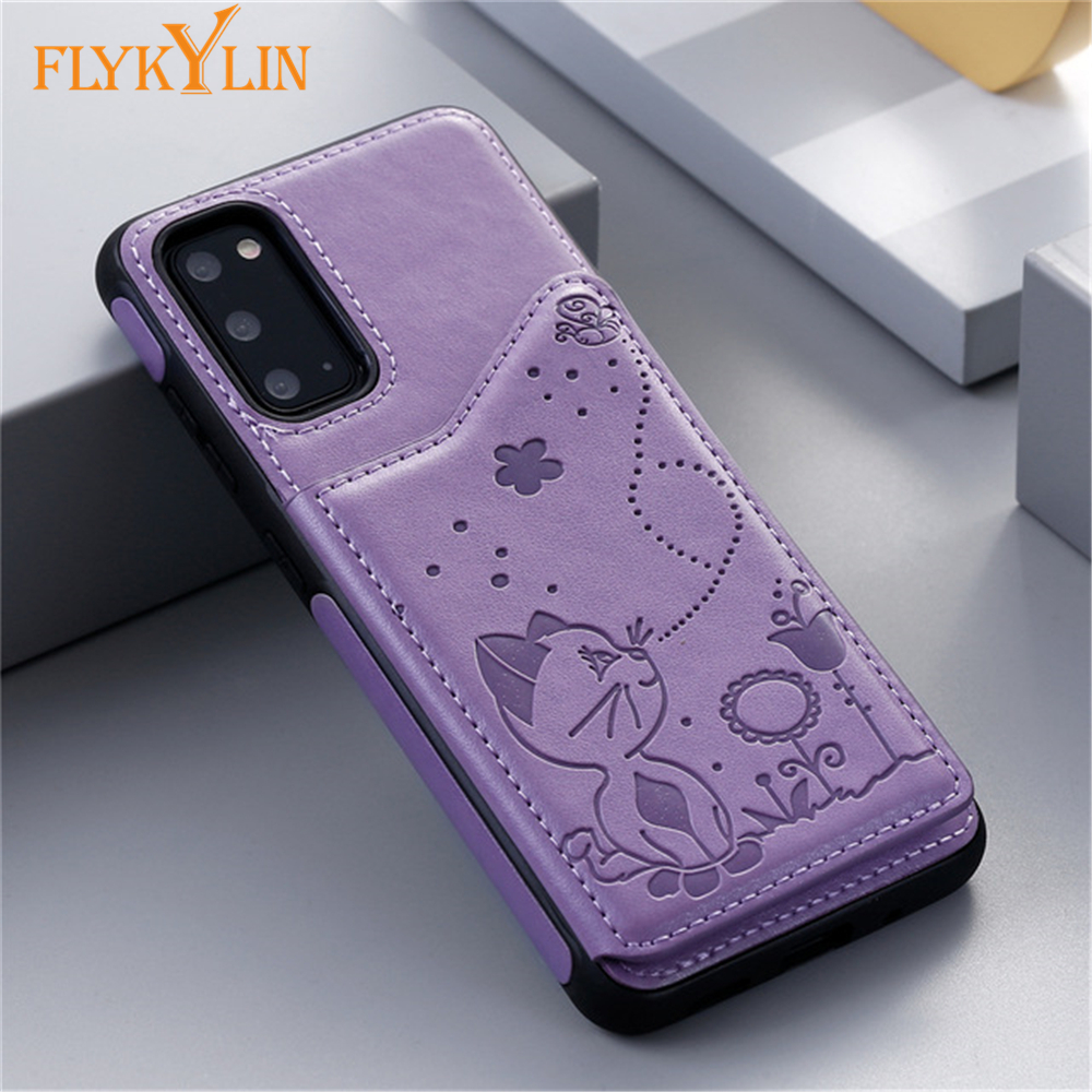 Cat And Bee Leather Wallet Flip Case For Samsung Galaxy A50 A50S A30S Note 8 9 10 Plus S8 S9 S10 S20 Plus S10E S20 Ultra Cover