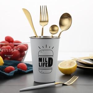 "Image 3 - לבן זהב סט סכו""ם מערבי 18/10 נירוסטה כלי שולחן בית כף מזלג סכין מקלות אכילה ערכת כלי אוכל סטי כלי שולחן"