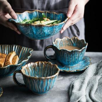 Taza creativa japonesa Vintage de cerámica hecha a mano, juego de platillo...
