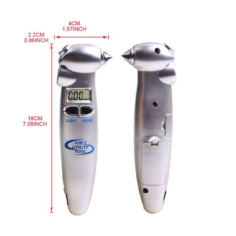 Medidor de presión de neumáticos Digital 4 en 1 0-100PSI pantalla LED con martillo de linterna