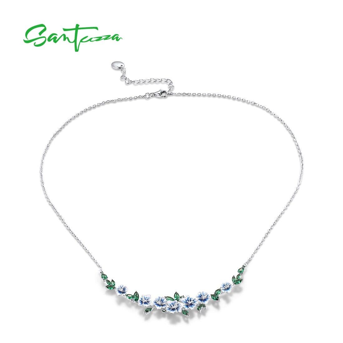 Traumhafte Halskette mit lebensecht emaillierten blauen Blumen und grünem Spinell   925 Halskette 925 Halsketten Frühling