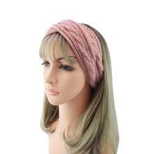 Women Hairband Fashion Thermal Hand Knitting Wool Head Sweet Girls Hair Winter Warmer Ear Knitted Headband Turban