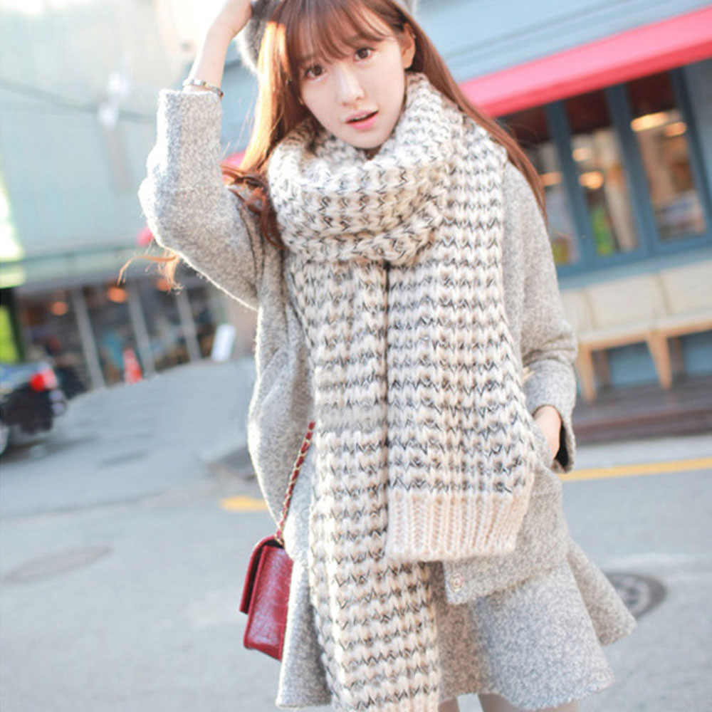 Wool Lady Scarf Winter Student Long Thick Men Scarves Warm Stripe Shawl Soft Elegant Fashion Style Unisex Bufandas 200*40 cm
