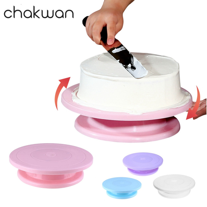 10 Inch DIY Cake Turntable Baking Tools Plastic Round Cake Rotary Plate Cake Decorating Tools Kitchen Table Rotating Cake Stand