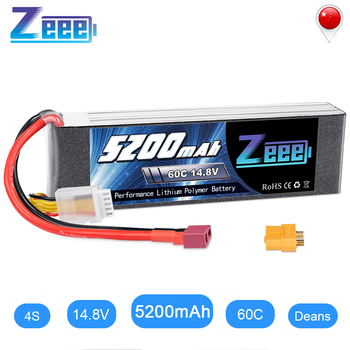 Zeee 14.8V 5200mAh 60C 4S LiPo Battery with Deans And XT60 Connector LiPo Battery For RC Helicopter Quadcopter Car Truck Boat 1pcs lipo battery 11 1v 14 8v 1600mah 70c lipo battery 3s 4s for rc helicopter rc car boat quadcopter remote control toys