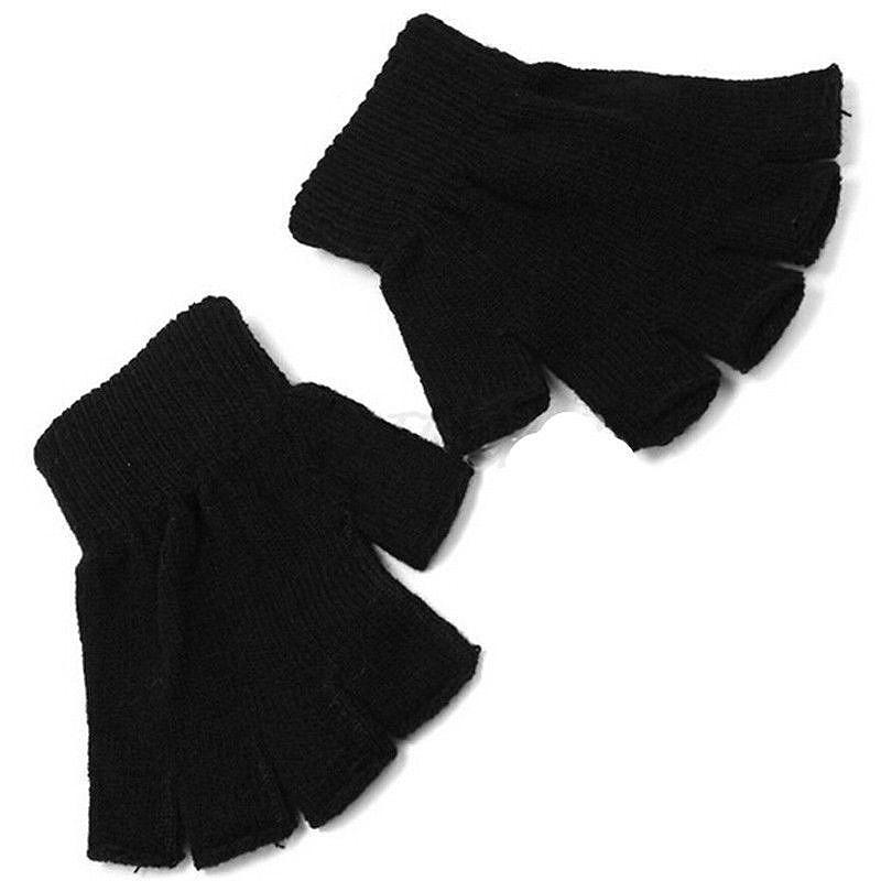 Warm Gloves Women's Elastic 1 Pair Half Finger Warm  Gloves Winter Half Finger Finger Work Gloves Knit Men Black