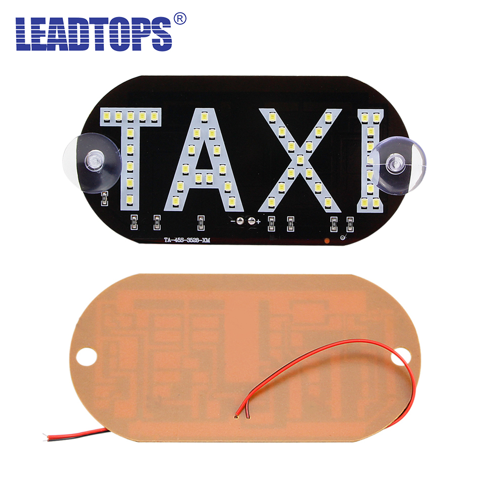 LEADTOPS 1pc / lot Taxi Led Car Windscreen Cab- ის ინდიკატორი ლამპის ნიშანი ლურჯი LED მინის შუშის ტაქსის ნათურის 12V BJ