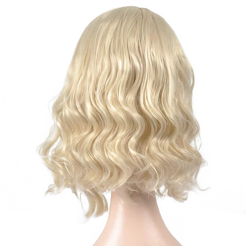 Loira peruca dianteira do laço bob onda do corpo peruca lado profundo parte laço ondulado peruca sintética curta loira cosplay perucas para mulher msglamor