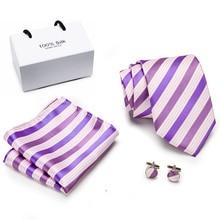 Men Tie Silk Necktie Plaid Purple Ties for Men High Quality Hanky Cufflinks Set Men's Wedding Pocket Square Tie Set 2019 new arrival 32styles purple black ties for men 100% silk male men s tie hanky cufflinks neck tie pocket square tie set