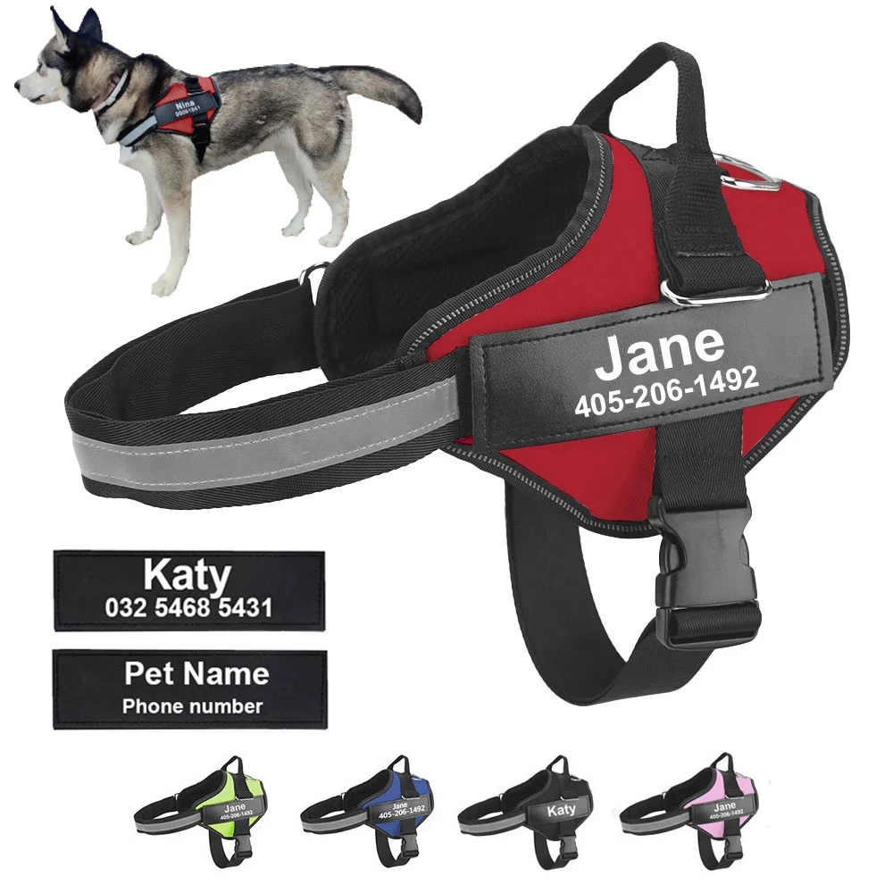 Personalized Dog Harness with Customizable ID Patch Reflective Breathable Adjustable Pet Harness for Small Medium Large Dogs