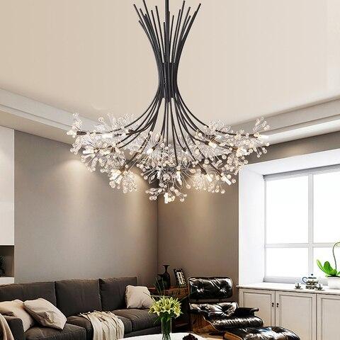 preto ouro prata quarto iluminacao buque de cristal lampada pendurada