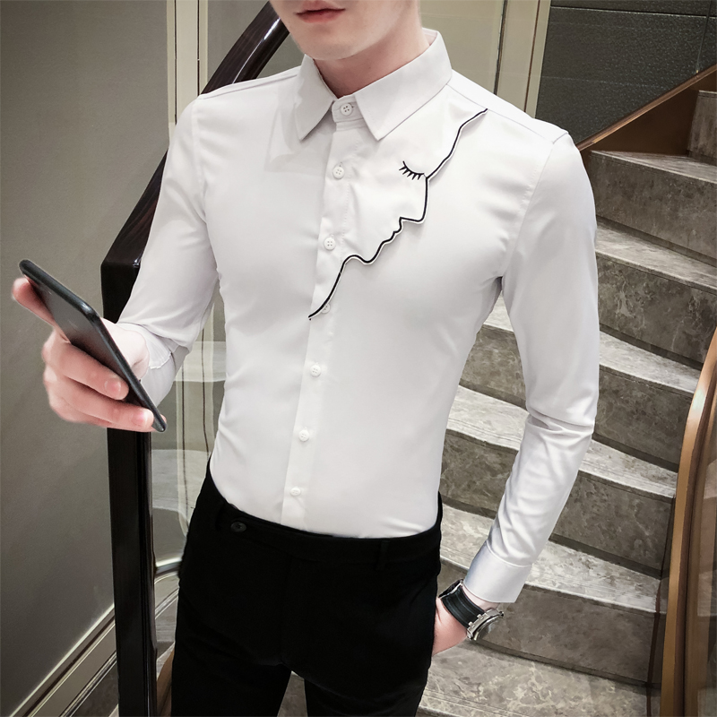 2020 Spring New Tuxedo Shirt Men Korean Fashion Sexy Beauty Girl Slim Fit Mens Casual Shirts Long Sleeve Night Club Blouse Homme