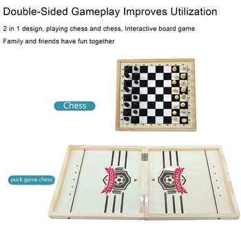 2 In 1 Wooden Chess And Slingshot Game Set Chess And Fast Sling Puck Game Educational Family Travelling Chess Board Game Gift