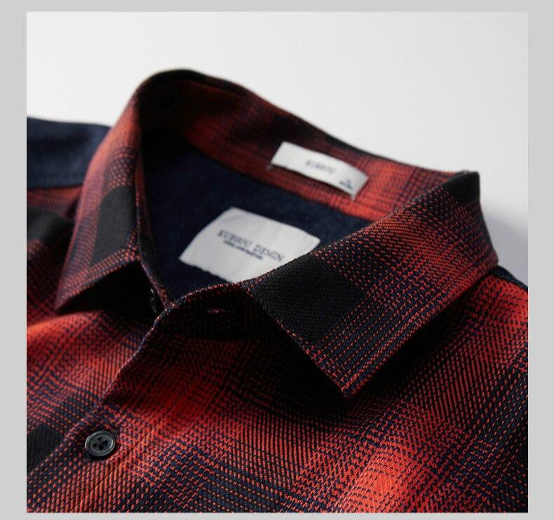 Image 5 - KUEGOU 2019 осень 100% хлопок клетчатая красная рубашка мужская  одежда на пуговицах Повседневная приталенная с длинным рукавом для  мужчин брендовая блуза размера плюс 6987Повседневные рубашки   -