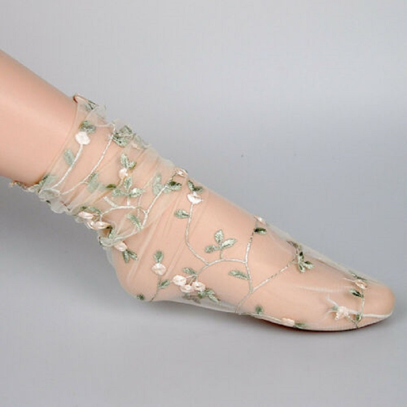 Arrival Womens Lady Sweet Fresh Crystal Lace Glass Rose Silk Flower Mesh Floral Embroidered Thin Ankle Women Short Socks Hosiery