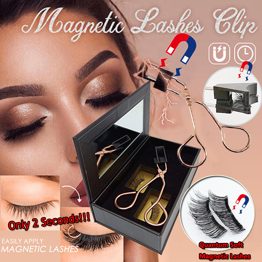 1Pc Magnetic Eyelash Curler With Quantum Soft Magnetic False Eyelashes Set  Easy To Wear Magnetic Lashes No Glue Need Eyelashes