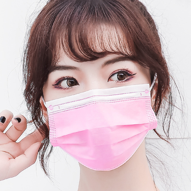 10/50/200pcs Disposable Face Mask Nonwoven Pink 3 Layers Civil Anti Dust Smog Breathable Gauze Mask Adult Pink Face Mouth Mask 3