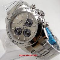 39mm bliger grey dial sapphire glass 316L steel solid case automatic mens watch