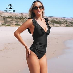 Image 2 - CUPSHE Solid Black Ruffled One piece Swimsuit Women Sexy Lace up Monokini Swimwear 2020 Girl Beach Bathing Suits