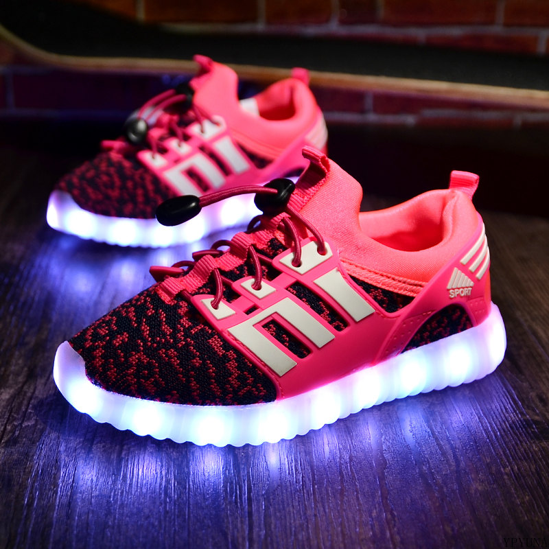 2020 New Kids USB Luminous Sneakers Glowing Children Lights Up Shoes With Led Slippers Girls Illuminated Krasovki Footwear Boys 2