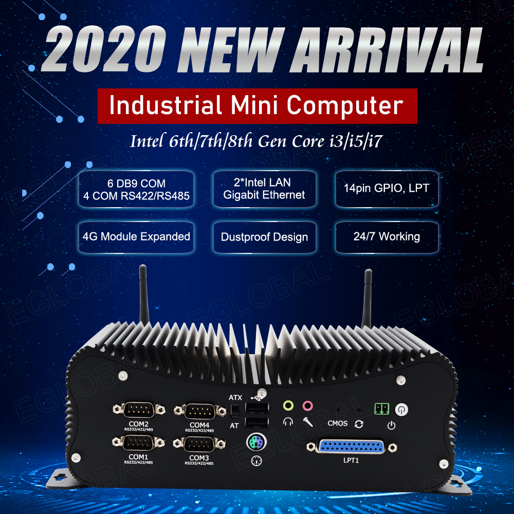 Eglobal Industrial Computer Intel Core I5 8250U I7 6567U DDR4 Desktop Mini PC 4 RS232/422/485 COM WES7/10 Windows LPT GPIO PS/2