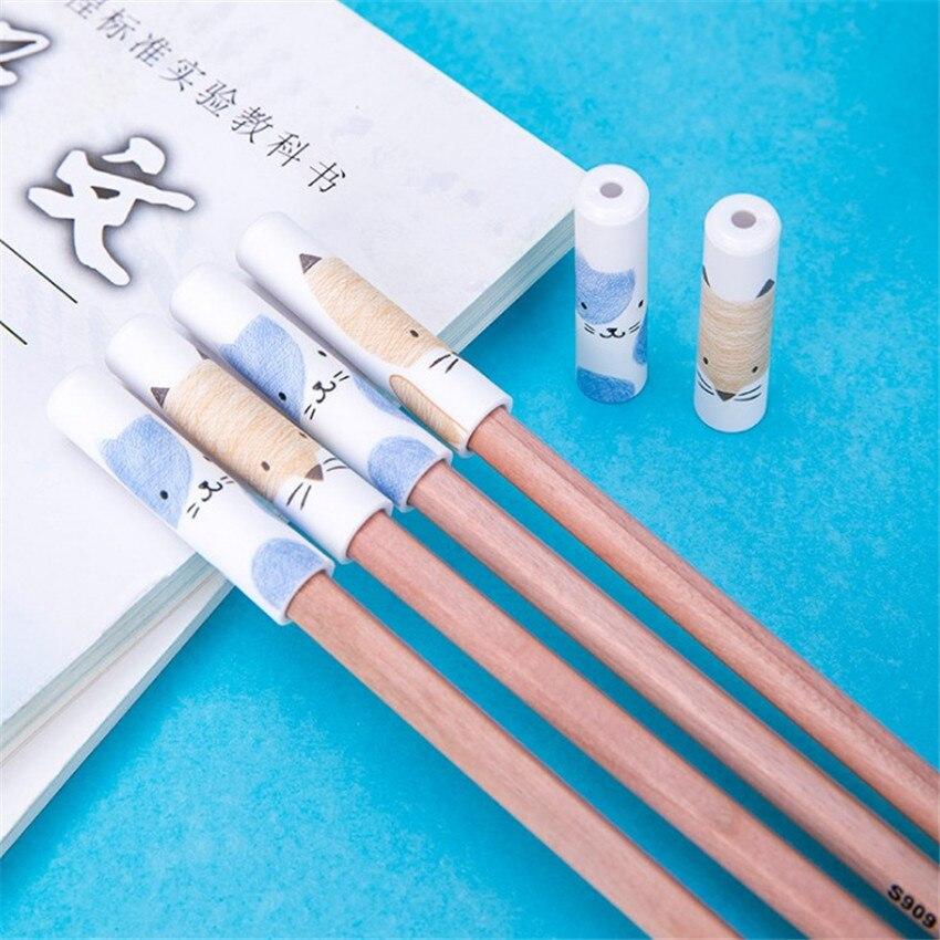 6pcs/set Plastic Ice Cream Pencil Cap Cute Protective Pencil Caps Student Pencil Extender Pencil Cover Stationery Tools 47*13mm