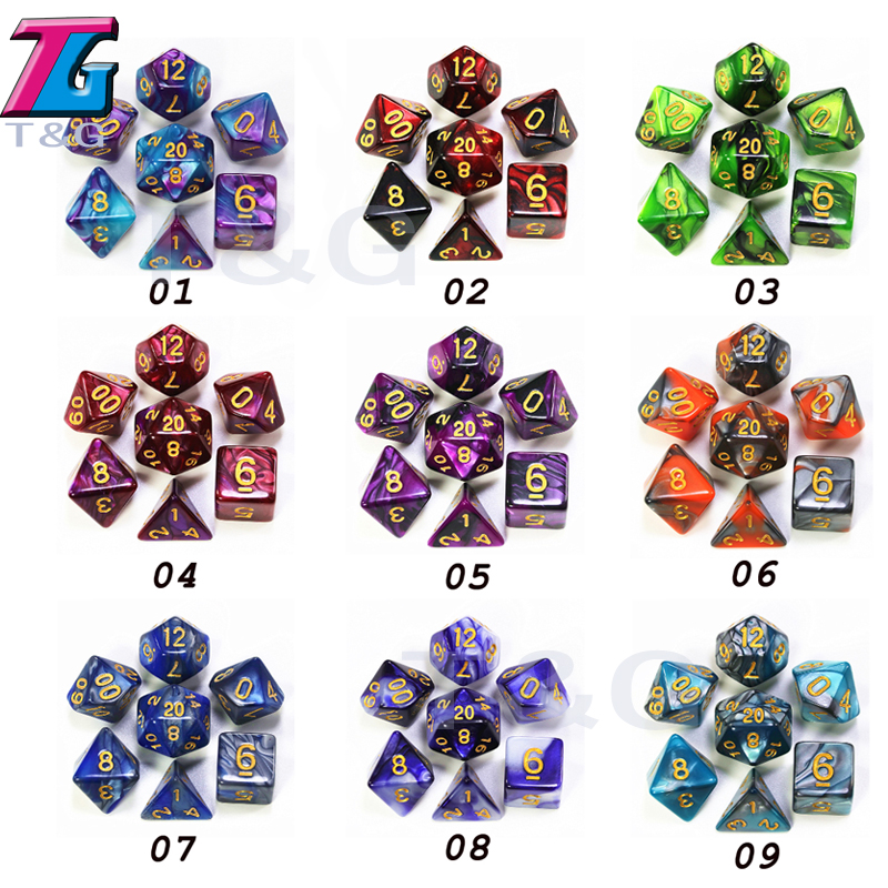9 Colors Mix Dice With  Bag DND RPG PortableToys For Adults Kids Plastic Cubes Special Gift Dungeons Dragons