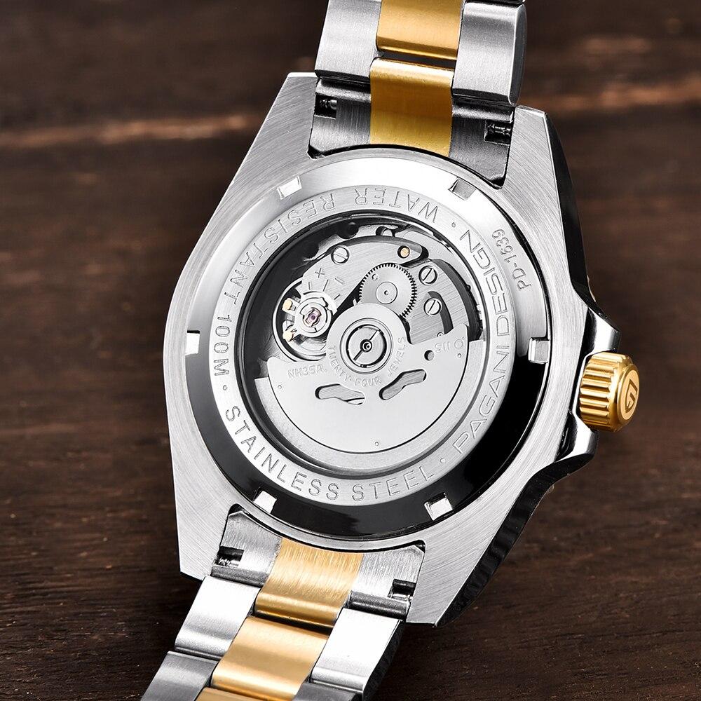 42 мм Corgeut/стерильный циферблат/Часы с сапфировым стеклом черный циферблат автоматические механические мужские наручные часы - 6
