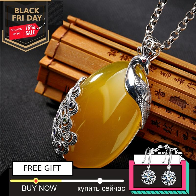 NOT FAKE S925 Sterling Silver Israel Amber Artisan Phenix Peacock Baltic Pendants Health Rich Lithuania Chalcedony Yellow
