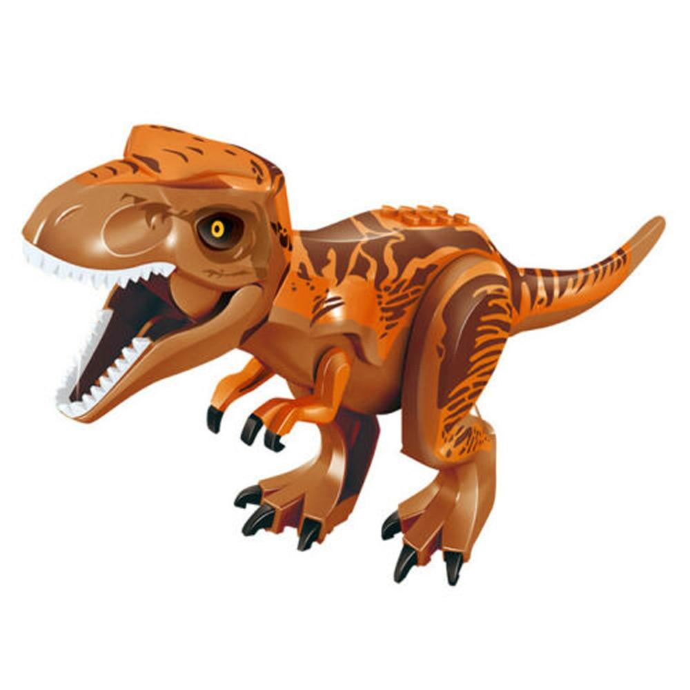 Купить с кэшбэком 2pcs/set Jurassic World 2 Tyrannosaurus Rex and White Tyrannosaurus Building Blocks Collectable Dinosaur Model Toys for Kids