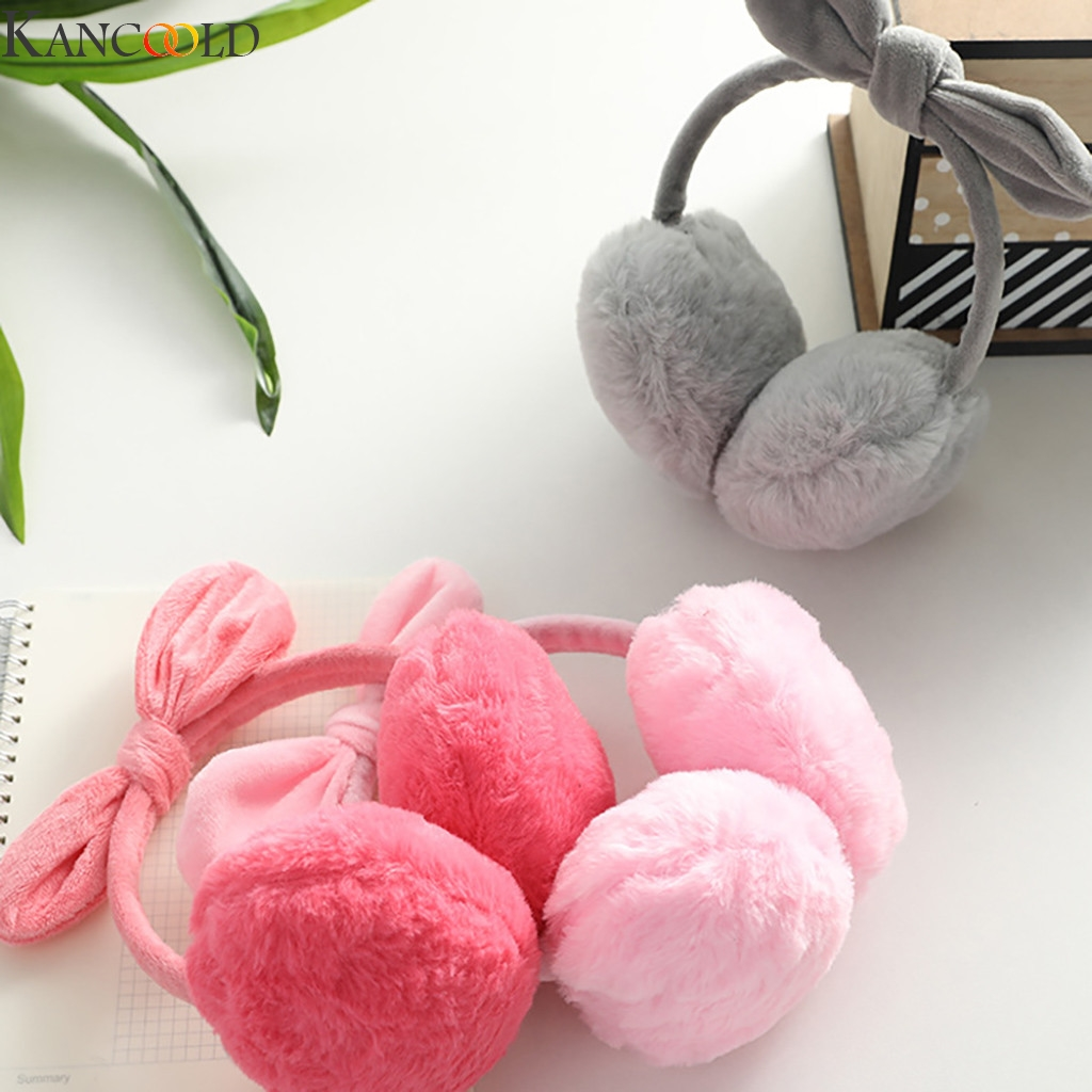 KANCOOLD Lovely Bow Ear Muffs Winter Warm Warmers Glitter Ears Plush Earmuffs For Women Playful Girls Ear Muffs Cold Protection