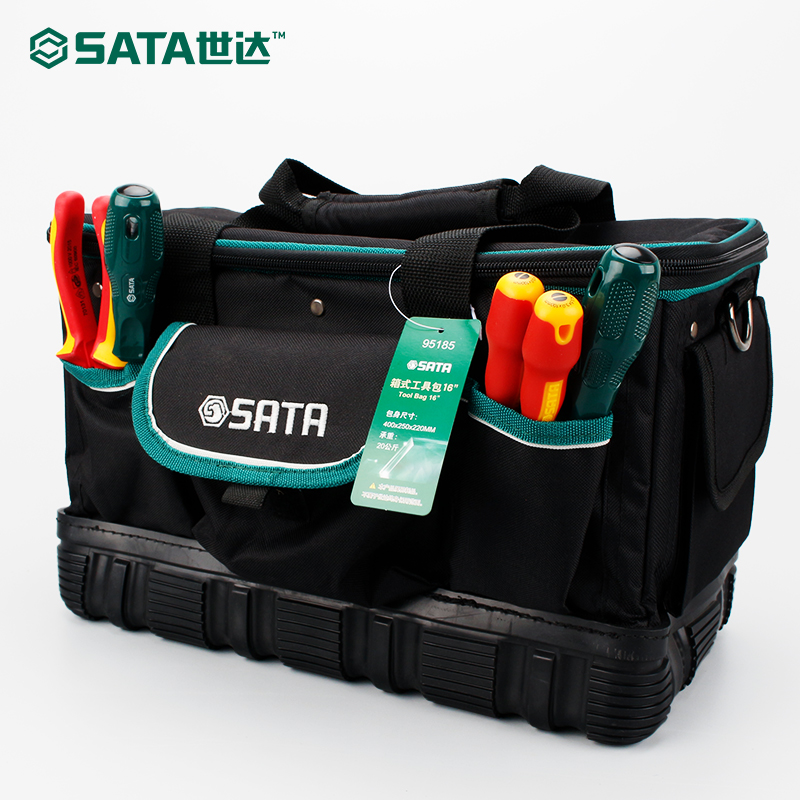SATA Tool Portable Tool Bag Storage Pockets Electrician Kit Organizer Pack 16'' 95185