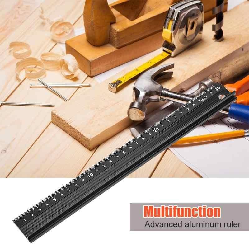 Multi-function Aluminum Alloy Hand Protective Ruler Non-slip Straight Ruler 1pcs