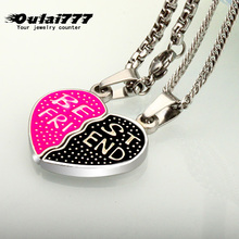 oulai777 women men necklace couple custom letter heart initial silver chain pendants blue Pink red black