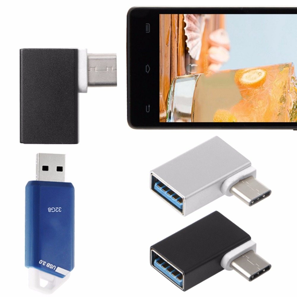 Portable Aluminum 90 Degree USB3.1 Type C To USB 3.0 Female Data OTG Converter For Macbook Android Phone Hard Disk Drive