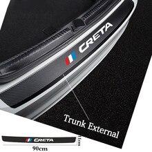 Защитные наклейки для заднего бампера автомобиля из углеродного волокна, кожаные наклейки для Hyundai Creta ix25 i30 Tucson Sonata Solaris, аксессуары