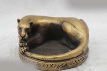 "728++++++3""Chinese Folk Pure Bronze Lucky excellent Lifelike leopard ashtray Statue(China)"