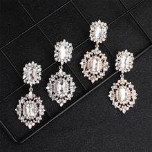 цена на Fashion Rhinestone Dangle Earrings Drop Sparkling Crystal Earrings for Women Jewerly Gift