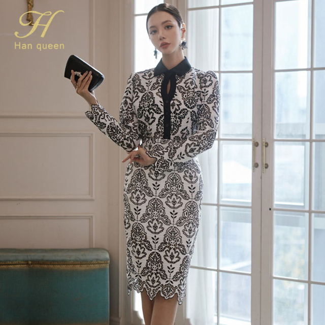 H Han Queen Women Autumn 2 Pieces Hollow Out Embroidery Pencil Dress Office Sexy Elegant Sheath Bodycon Vestidos Party Dresses 1