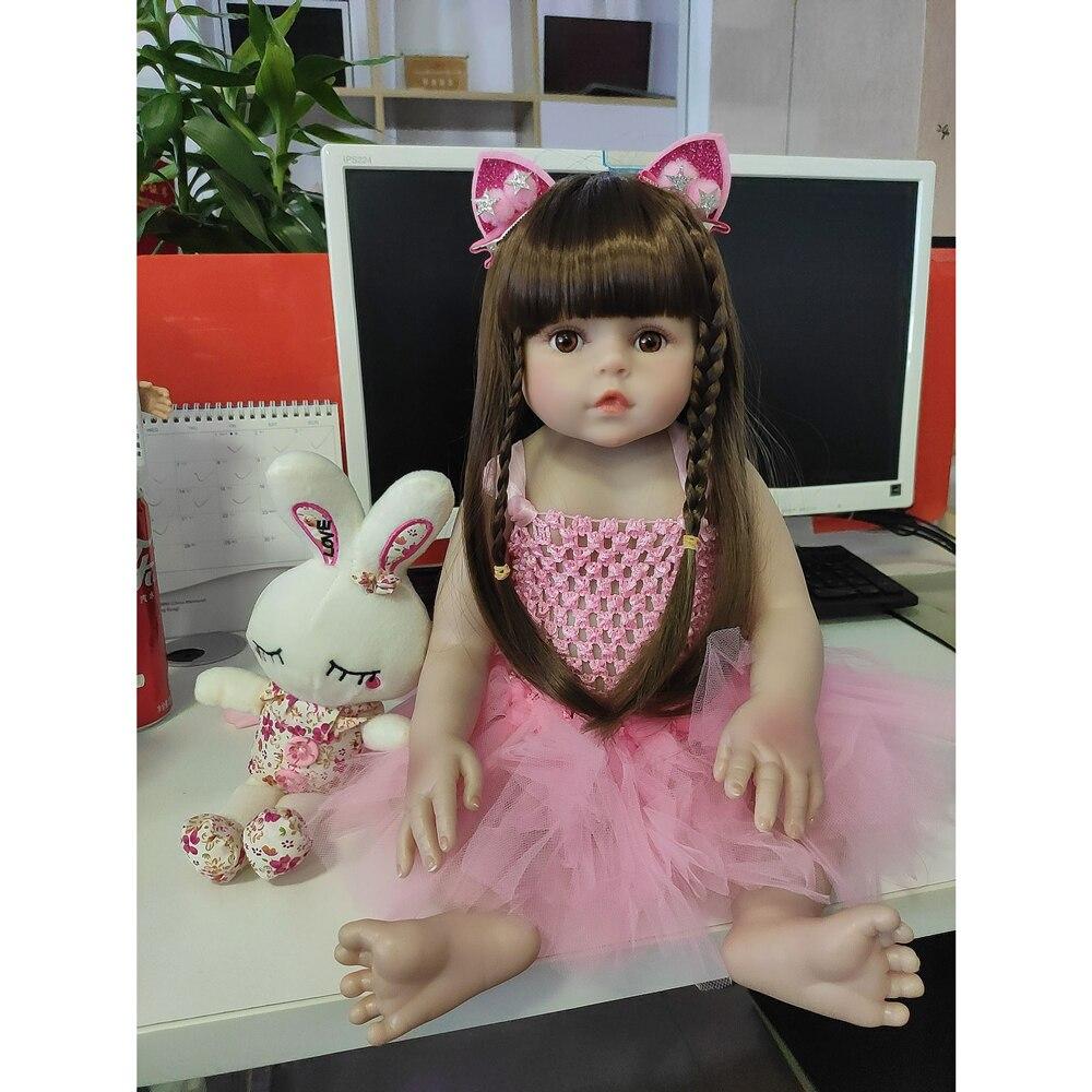 Bebe Reborn Corpo de Silicone Inteiro Baby Doll 48cm Alive Bath Play Toys Sleep Partner Kids Surprise Gifts Anatomically Correct(China)