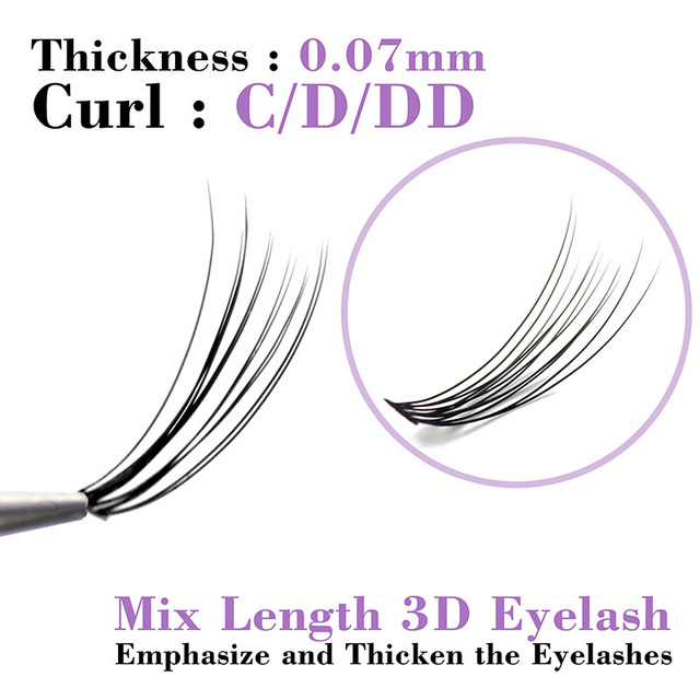 Kimcci C/D/DD Curl Mix Length 3D Mink Eyelash Extension Natural Russian Volume False Eyelashes Makeup Faux Fake Lashes Cilias 2