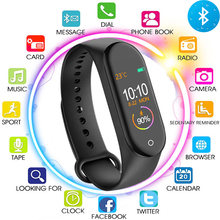 M4 Smart Bracelet Fitness Activity Tracker Heart Rate Monitor Tracker Blood Pressure Wristband Call Message Reminder Band Watch(China)