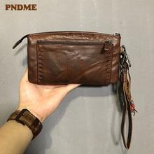PNDME fashion designer genuine leather women's clutch wallet vintage luxury real cowhide long zipper tassel men's phone purse