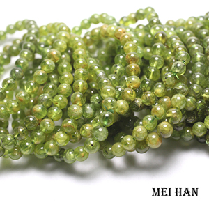 Image 2 - Meihan (25 Kralen/Set/14G) 7 Mm + 0.3 Natuurlijke Groene Peridot Gladde Ronde Edelsteen Kralen Voor Gift Vrouwen Mannen Armband