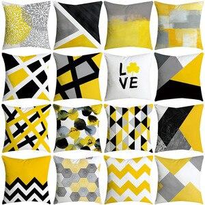 Summer Geometry Print Customized Cushion Cover Geometric Yellow Skulls Throw Decorative Pillowcase 45x45 Home Decor